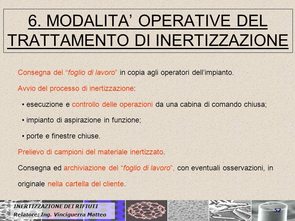 6. MODALITA' OPERATIVE DEL TRATTAMENTO DI INERTIZZAZIONE