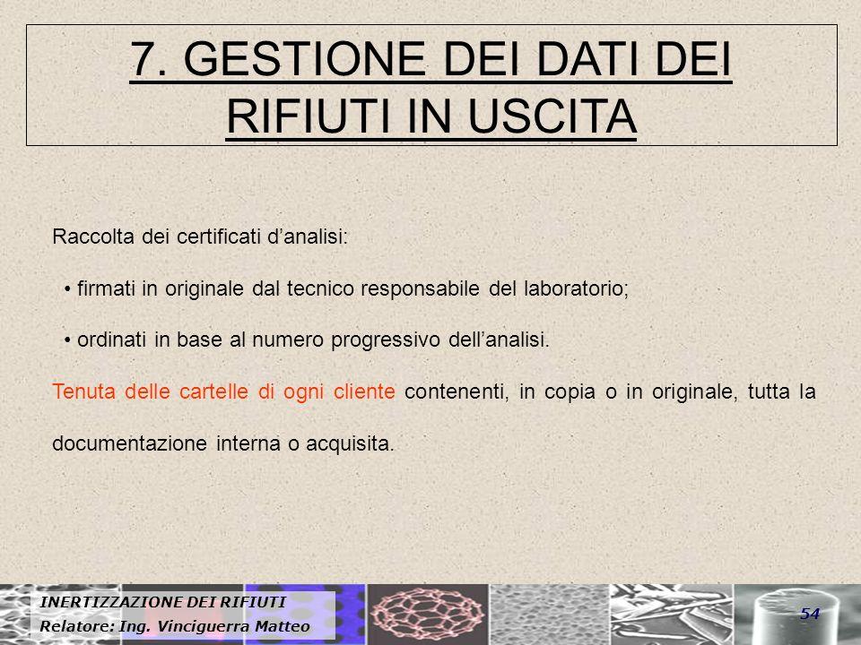7. GESTIONE DEI DATI DEI RIFIUTI IN USCITA