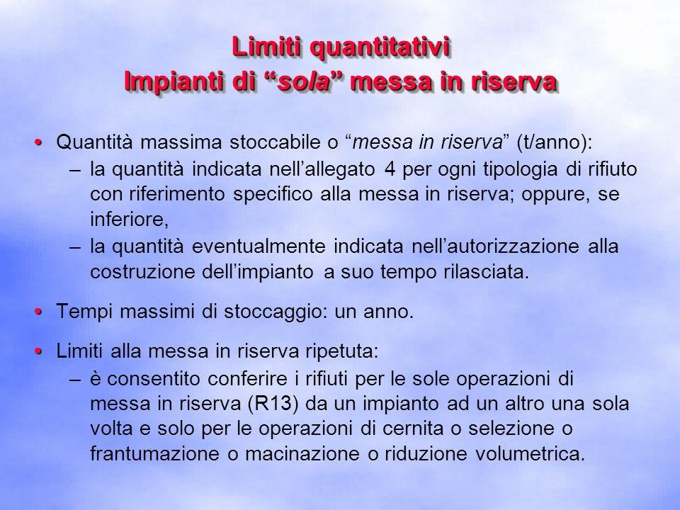 Limiti quantitativi Impianti di sola messa in riserva