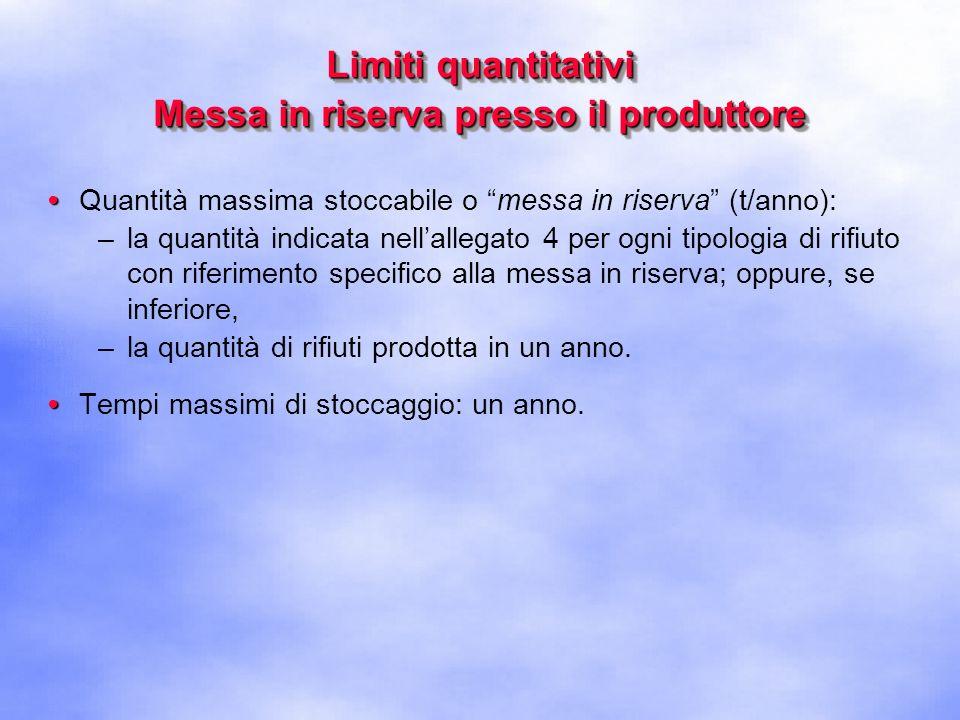 Limiti quantitativi Messa in riserva presso il produttore
