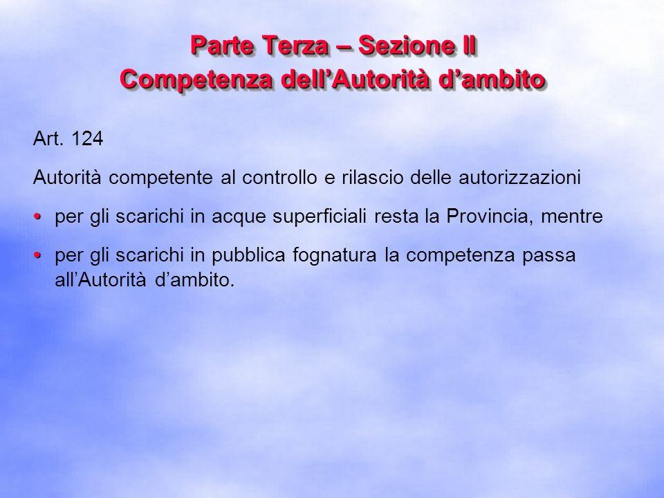Parte Terza – Sezione II Competenza dell'Autorità d'ambito