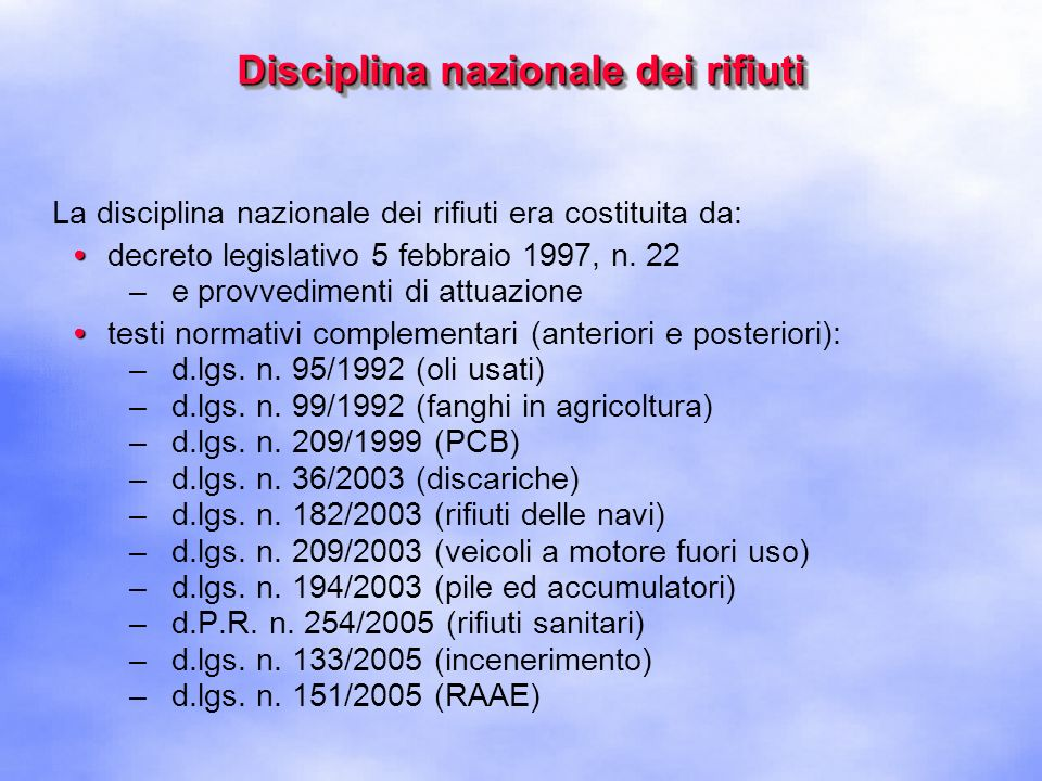 Disciplina nazionale dei rifiuti