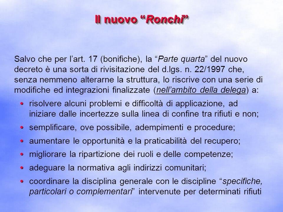 Il nuovo Ronchi