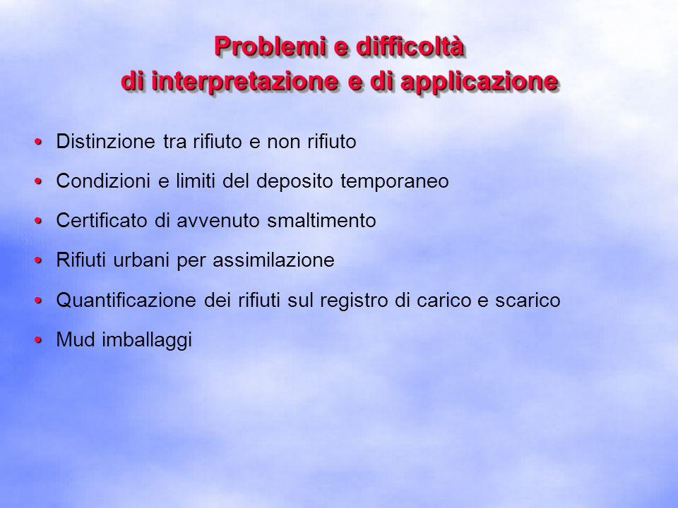 Problemi e difficoltà di interpretazione e di applicazione