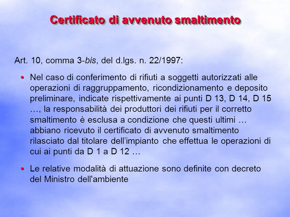 Certificato di avvenuto smaltimento