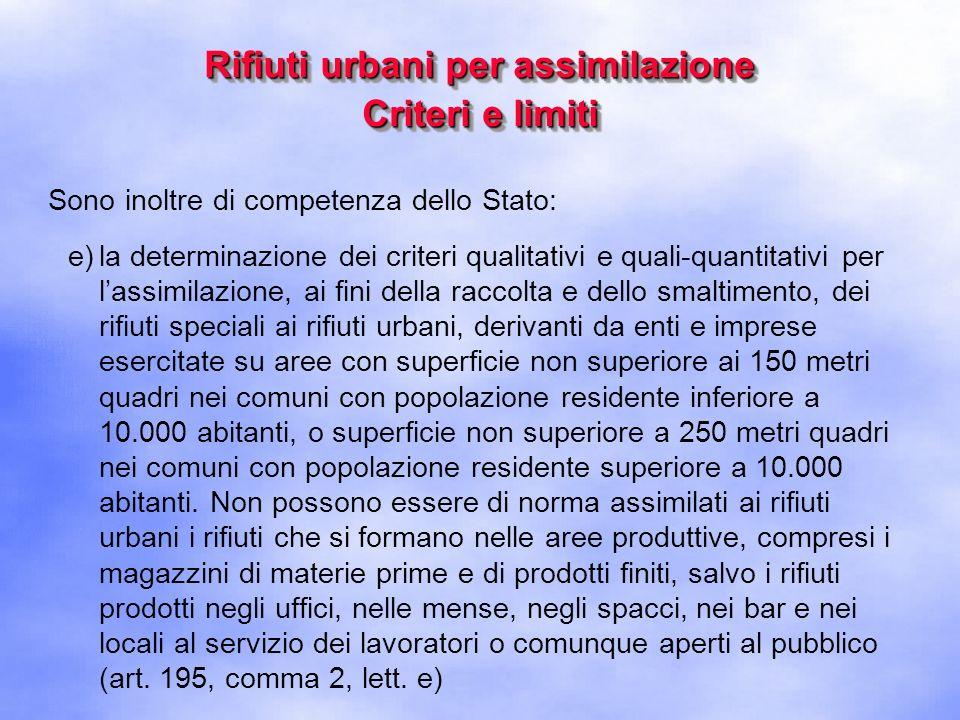Rifiuti urbani per assimilazione Criteri e limiti