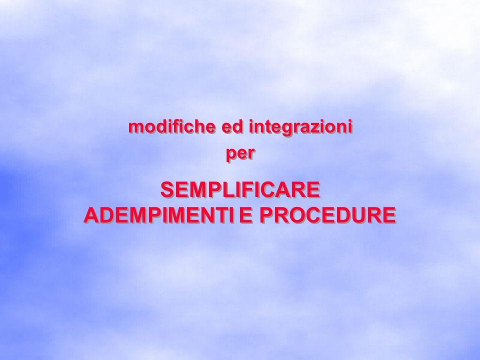 modifiche ed integrazioni ADEMPIMENTI E PROCEDURE