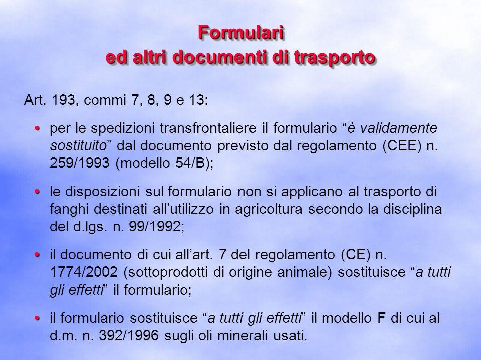 Formulari ed altri documenti di trasporto