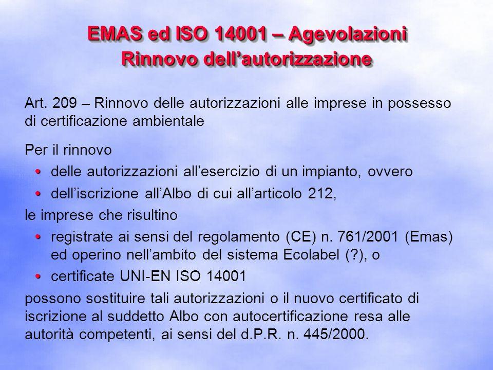 EMAS ed ISO 14001 – Agevolazioni Rinnovo dell'autorizzazione