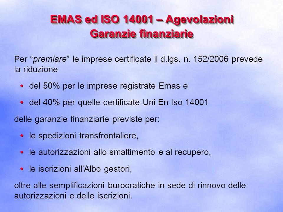 EMAS ed ISO 14001 – Agevolazioni Garanzie finanziarie