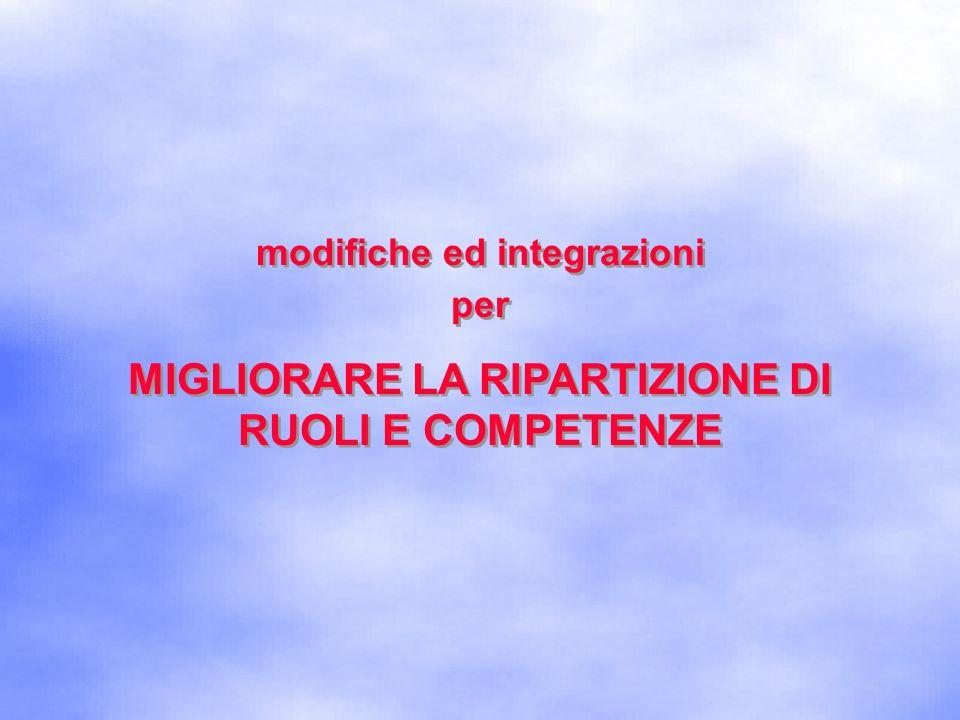 modifiche ed integrazioni MIGLIORARE LA RIPARTIZIONE DI
