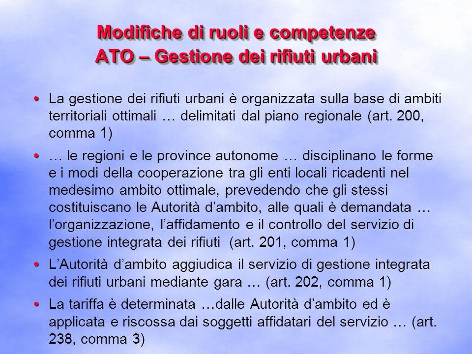 Modifiche di ruoli e competenze ATO – Gestione dei rifiuti urbani