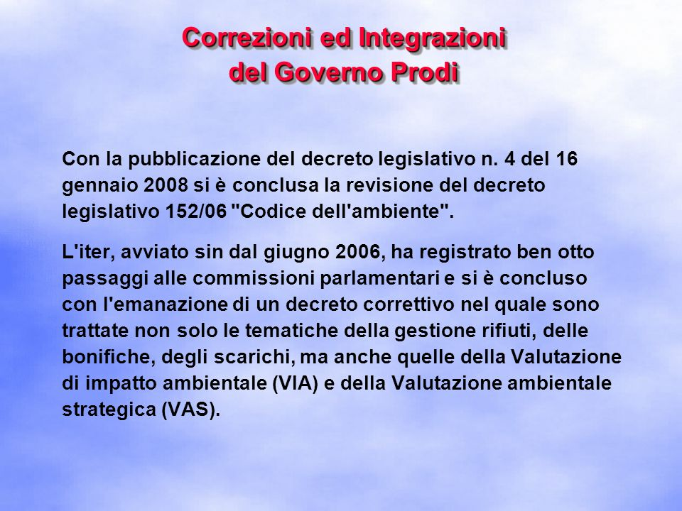 Correzioni ed Integrazioni del Governo Prodi