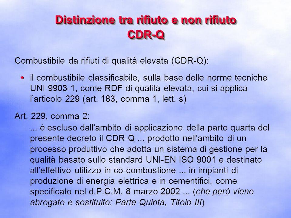 Distinzione tra rifiuto e non rifiuto CDR-Q