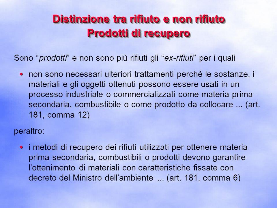 Distinzione tra rifiuto e non rifiuto Prodotti di recupero