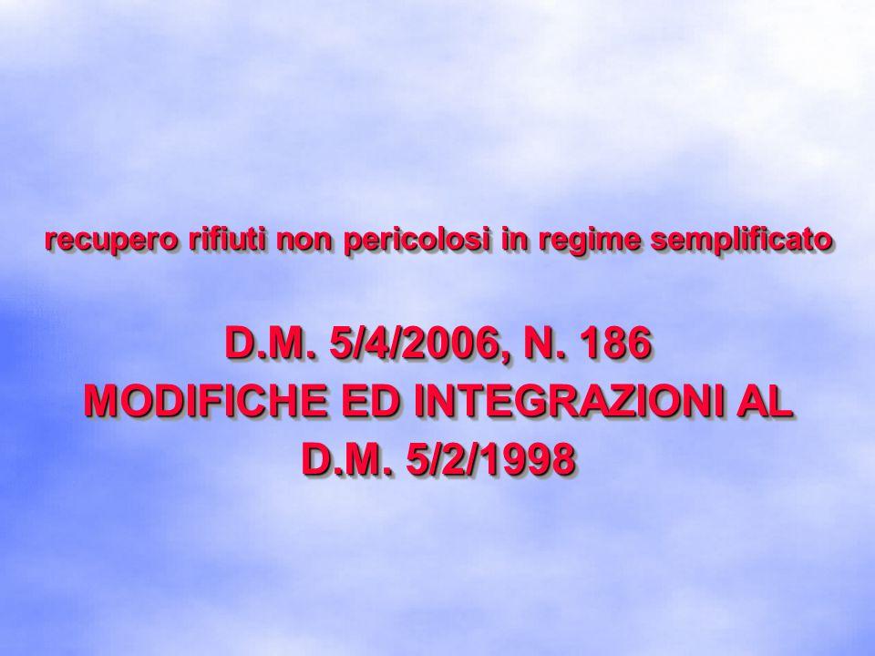 D.M. 5/4/2006, N. 186 MODIFICHE ED INTEGRAZIONI AL D.M. 5/2/1998