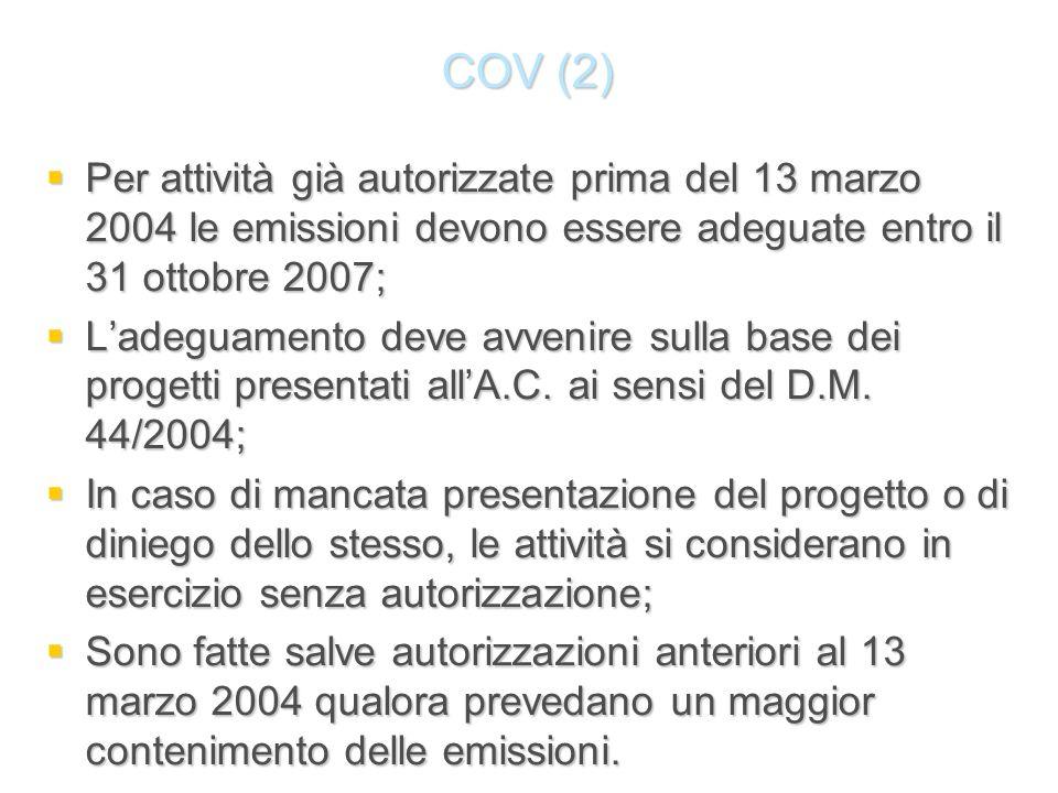 COV (2) Per attività già autorizzate prima del 13 marzo 2004 le emissioni devono essere adeguate entro il 31 ottobre 2007;