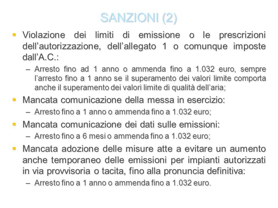 SANZIONI (2) Violazione dei limiti di emissione o le prescrizioni dell'autorizzazione, dell'allegato 1 o comunque imposte dall'A.C.: