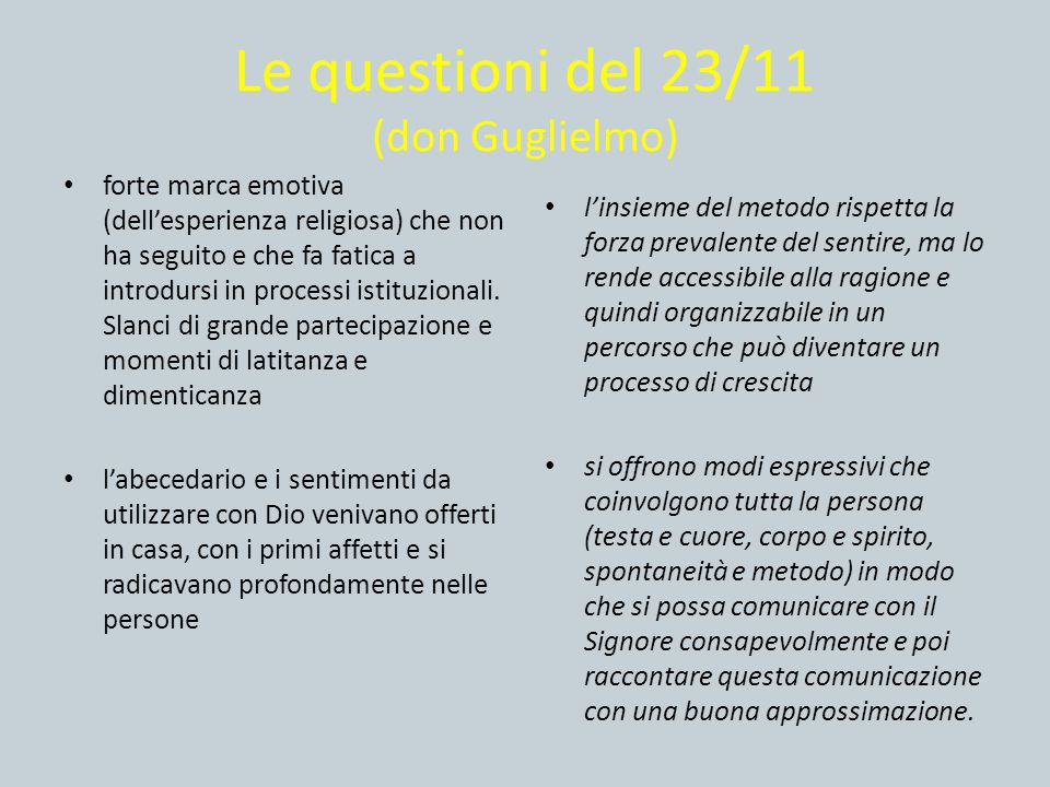 Le questioni del 23/11 (don Guglielmo)