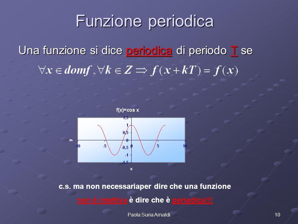 Funzione periodica Una funzione si dice periodica di periodo T se