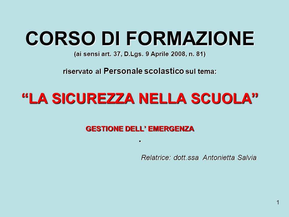 CORSO DI FORMAZIONE (ai sensi art. 37, D. Lgs. 9 Aprile 2008, n