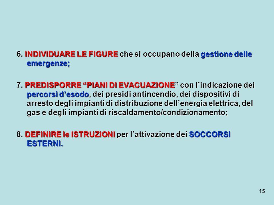 6. INDIVIDUARE LE FIGURE che si occupano della gestione delle emergenze;