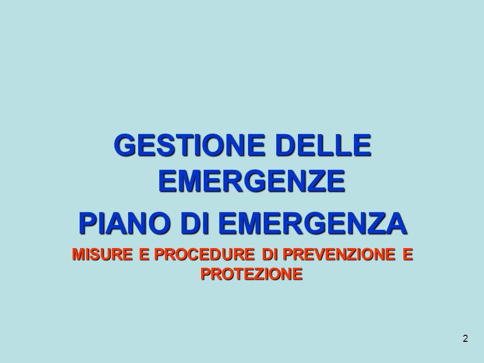 GESTIONE DELLE EMERGENZE PIANO DI EMERGENZA