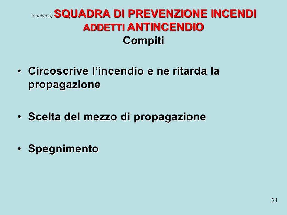 (continua) SQUADRA DI PREVENZIONE INCENDI ADDETTI ANTINCENDIO Compiti