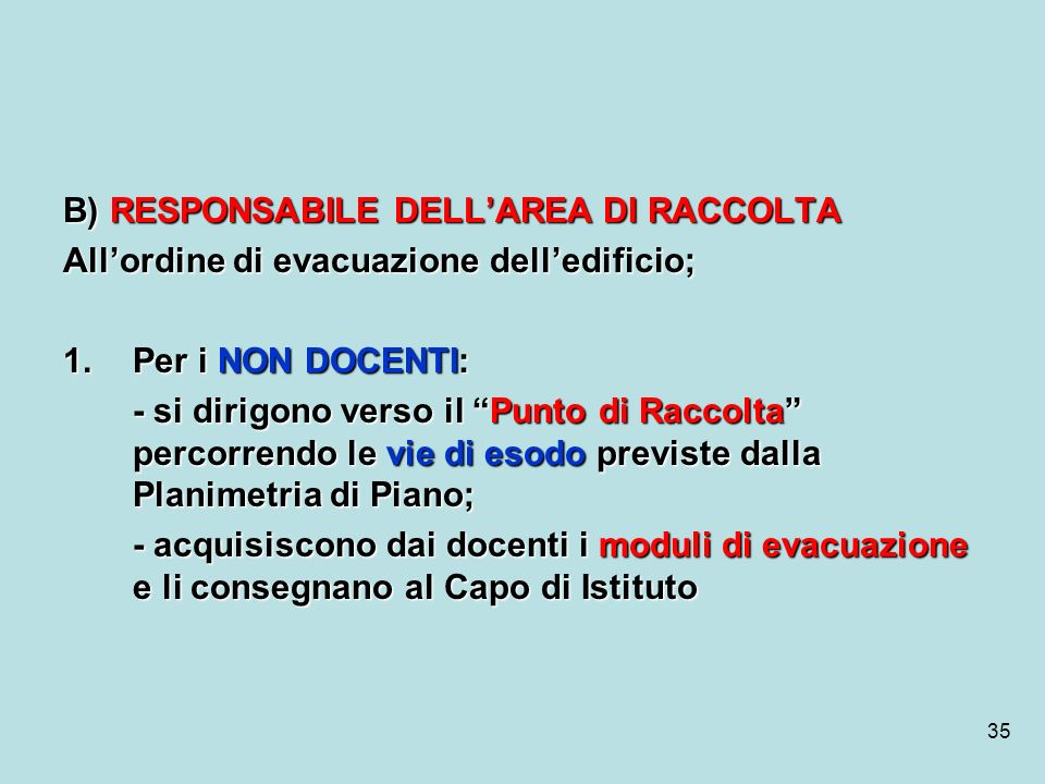B) RESPONSABILE DELL'AREA DI RACCOLTA
