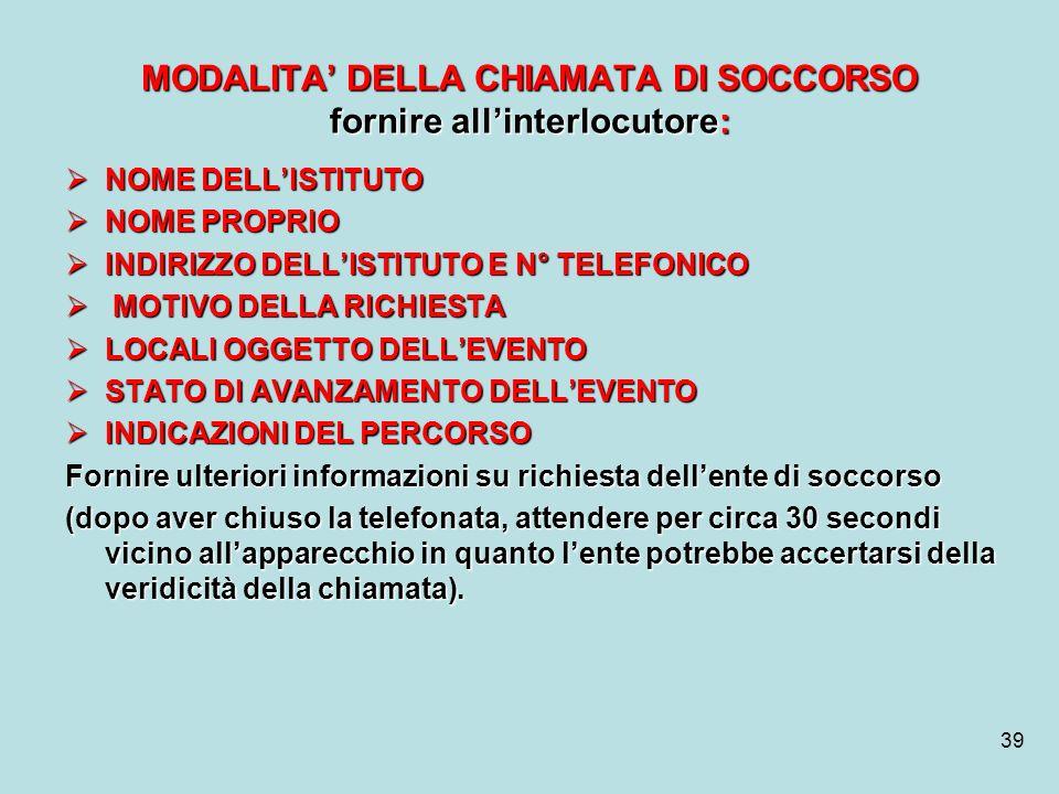 MODALITA' DELLA CHIAMATA DI SOCCORSO fornire all'interlocutore: