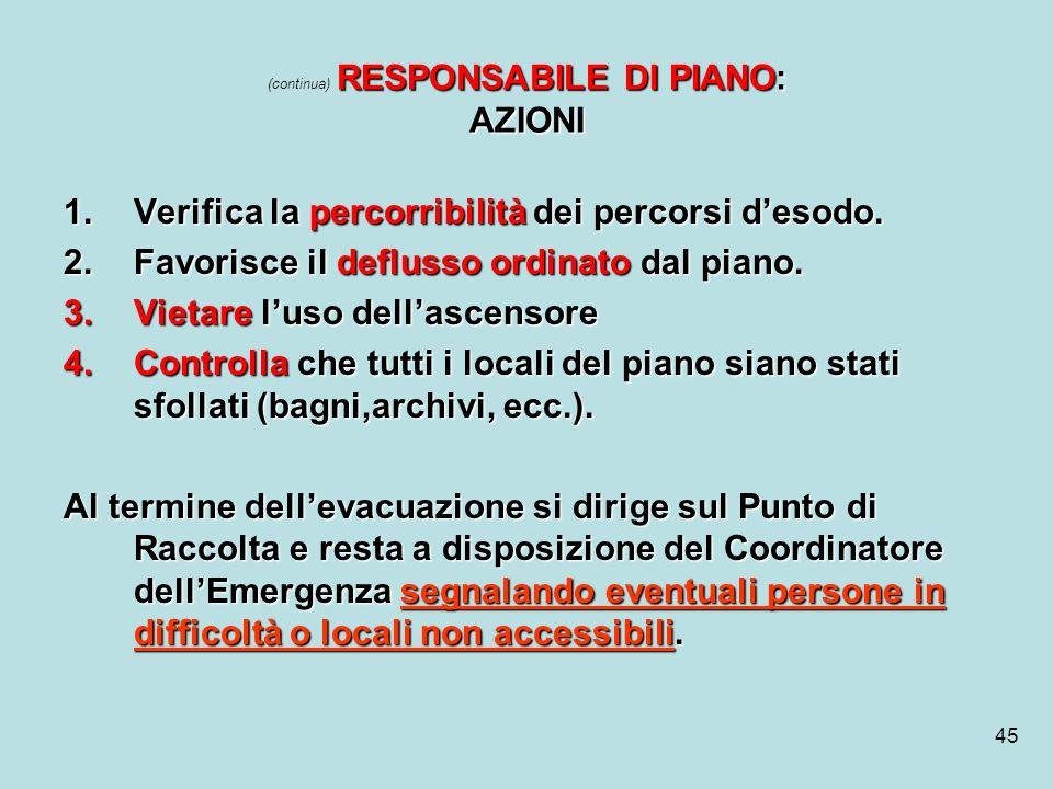 (continua) RESPONSABILE DI PIANO: AZIONI