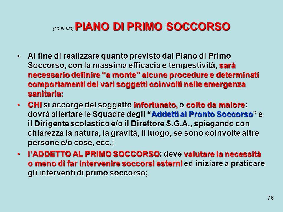 (continua) PIANO DI PRIMO SOCCORSO