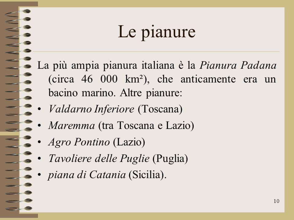 Le pianure La più ampia pianura italiana è la Pianura Padana (circa 46 000 km²), che anticamente era un bacino marino. Altre pianure: