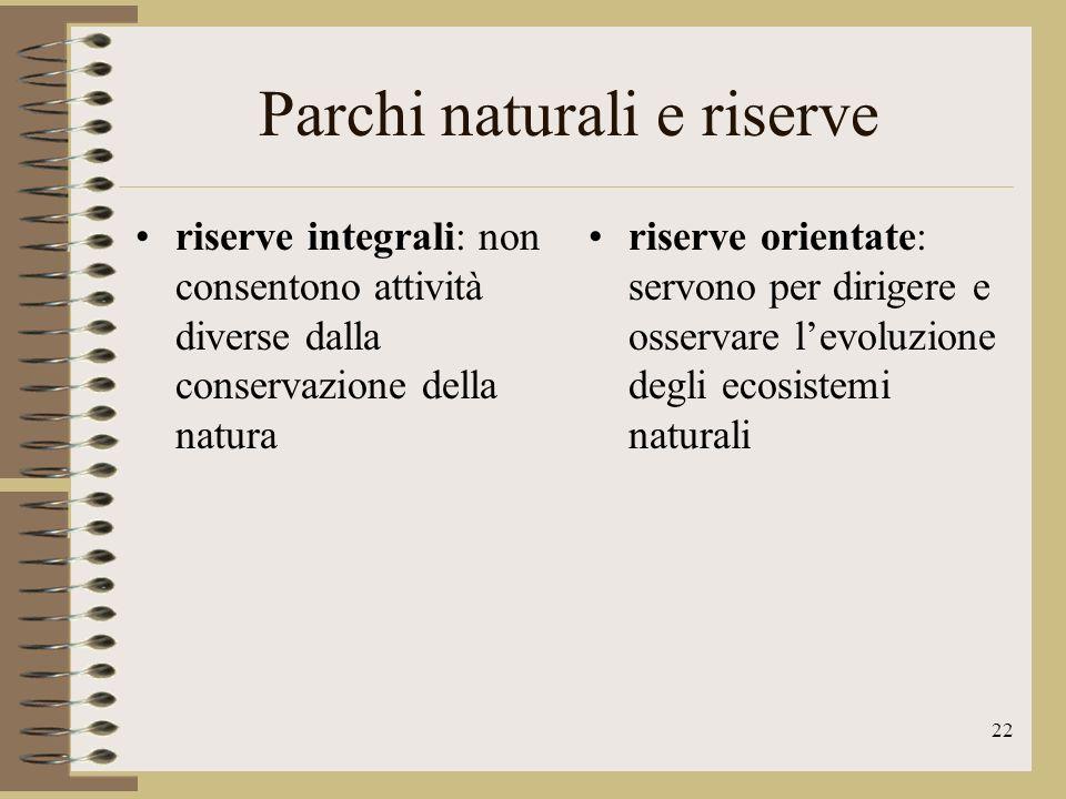 Parchi naturali e riserve