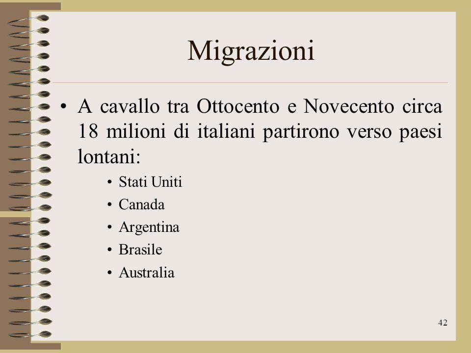 Migrazioni A cavallo tra Ottocento e Novecento circa 18 milioni di italiani partirono verso paesi lontani: