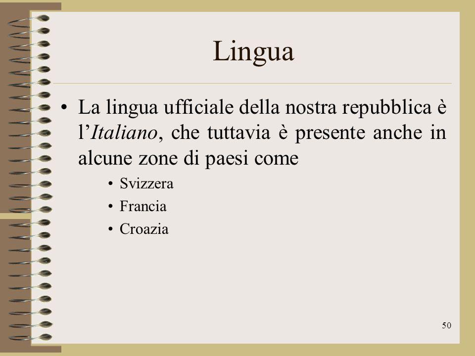 Lingua La lingua ufficiale della nostra repubblica è l'Italiano, che tuttavia è presente anche in alcune zone di paesi come.