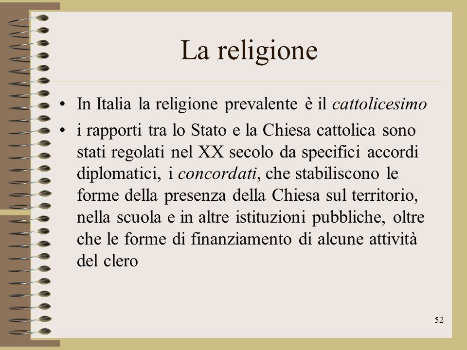 La religione In Italia la religione prevalente è il cattolicesimo