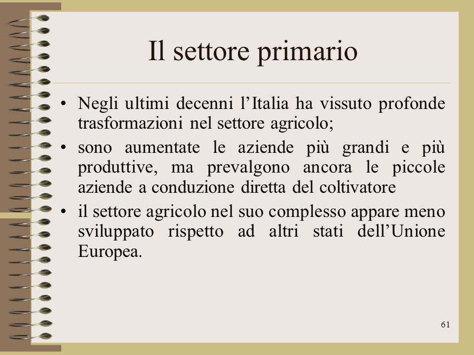 Il settore primario Negli ultimi decenni l'Italia ha vissuto profonde trasformazioni nel settore agricolo;