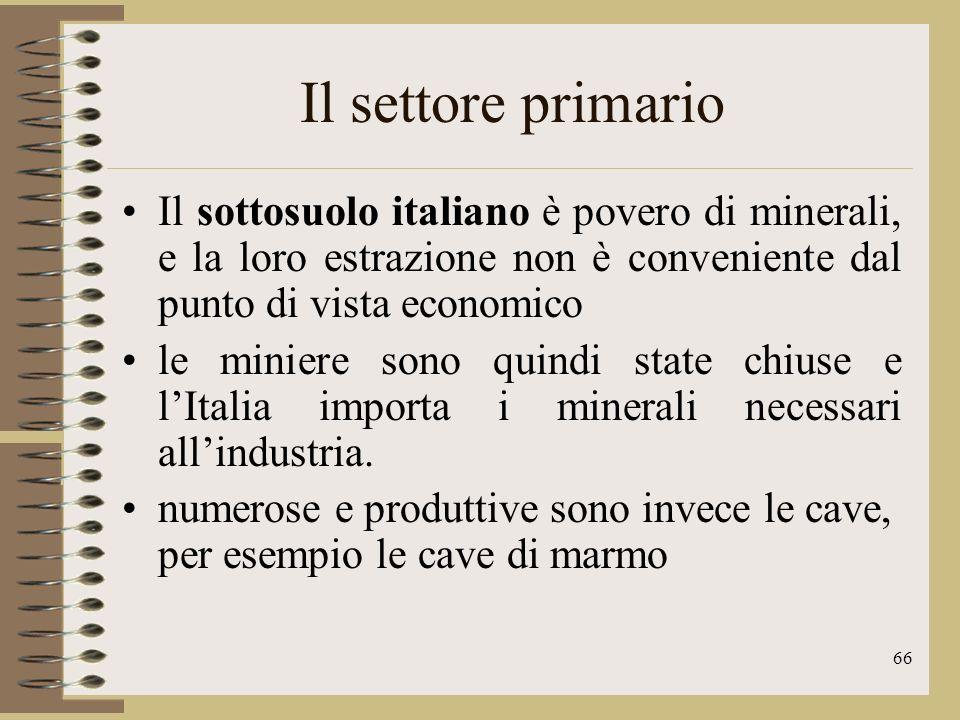 Il settore primario Il sottosuolo italiano è povero di minerali, e la loro estrazione non è conveniente dal punto di vista economico.