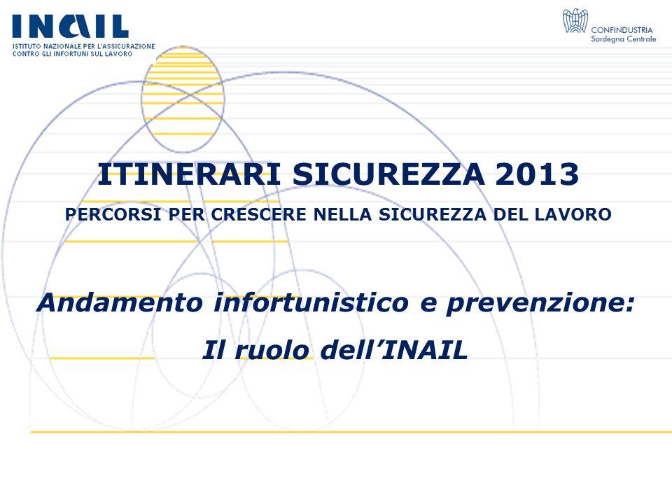 ITINERARI SICUREZZA 2013 Andamento infortunistico e prevenzione: