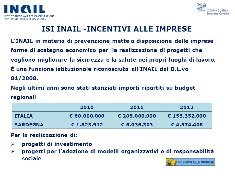 ISI INAIL -INCENTIVI ALLE IMPRESE