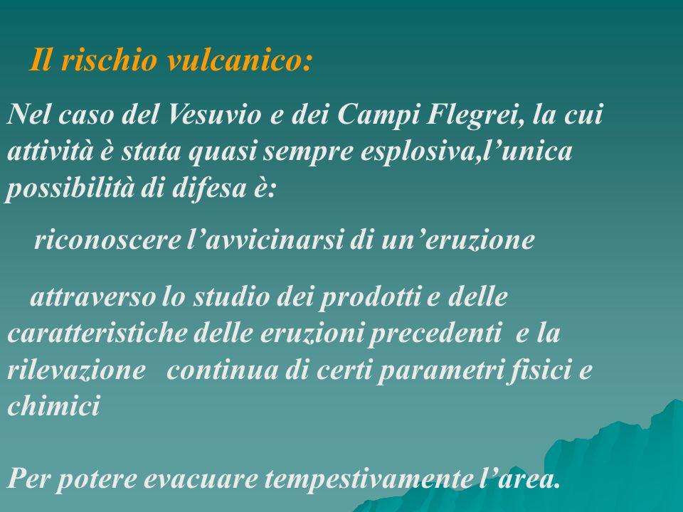Il rischio vulcanico:Nel caso del Vesuvio e dei Campi Flegrei, la cui attività è stata quasi sempre esplosiva,l'unica possibilità di difesa è: