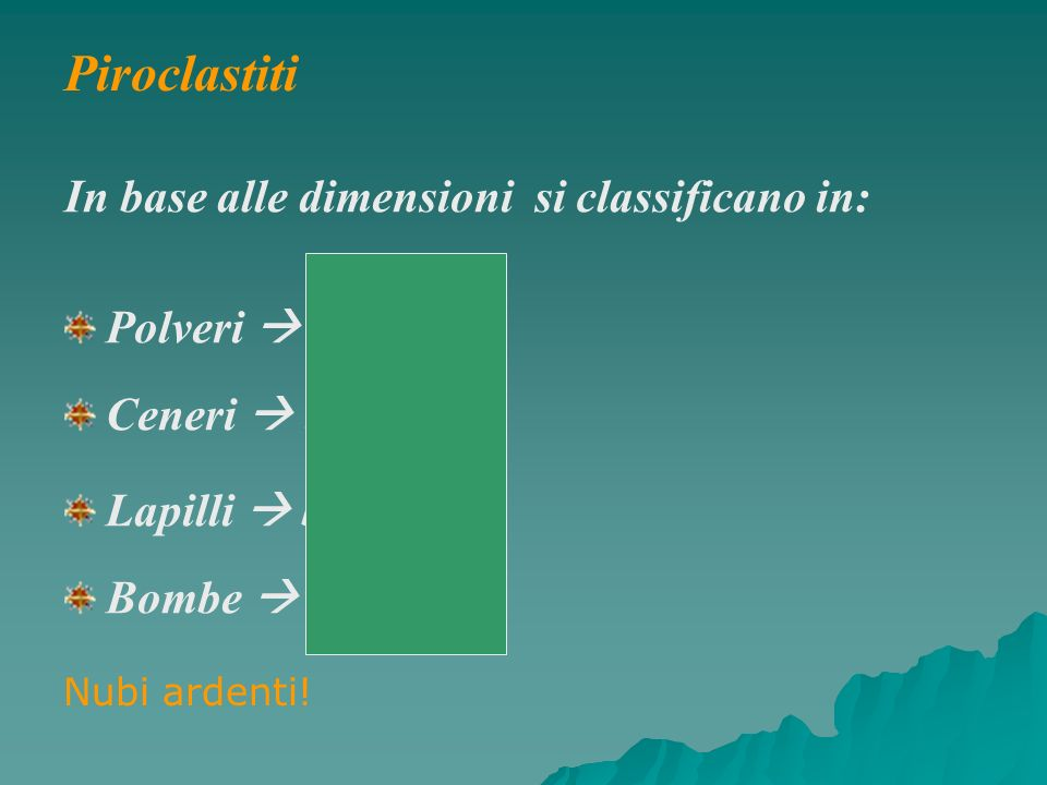 Piroclastiti In base alle dimensioni si classificano in: