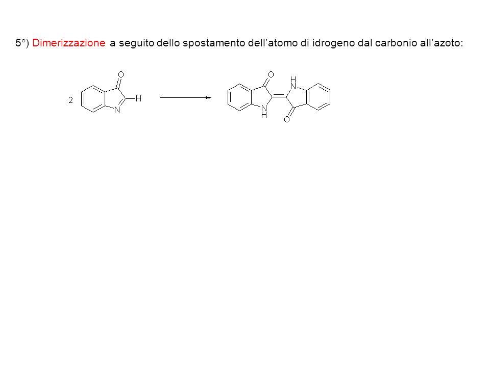 5°) Dimerizzazione a seguito dello spostamento dell'atomo di idrogeno dal carbonio all'azoto: