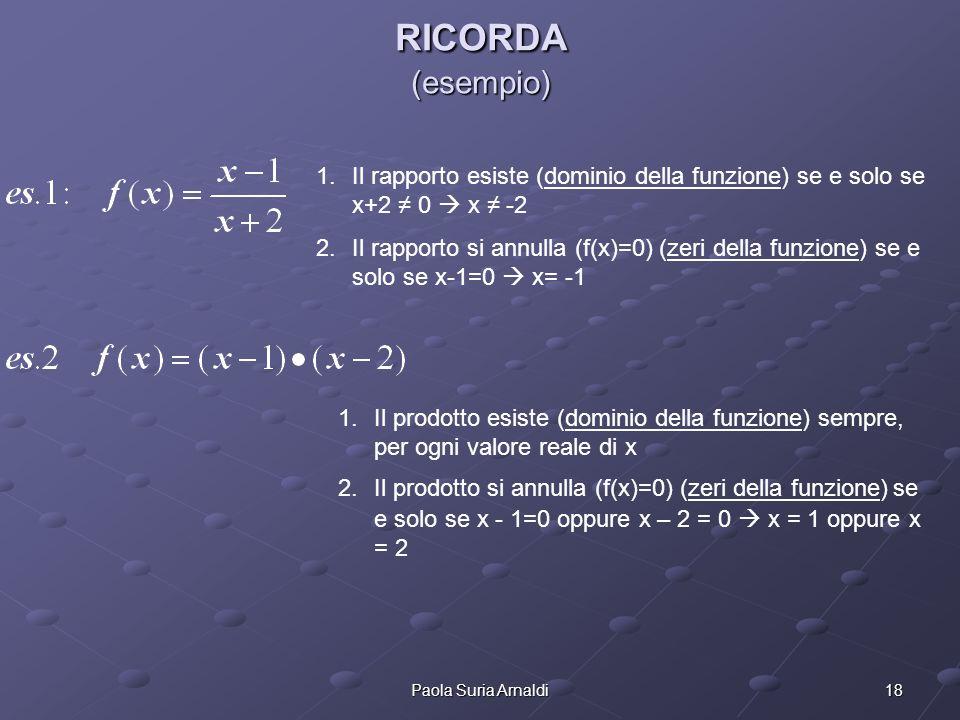 RICORDA (esempio) Il rapporto esiste (dominio della funzione) se e solo se x+2 ≠ 0  x ≠ -2.