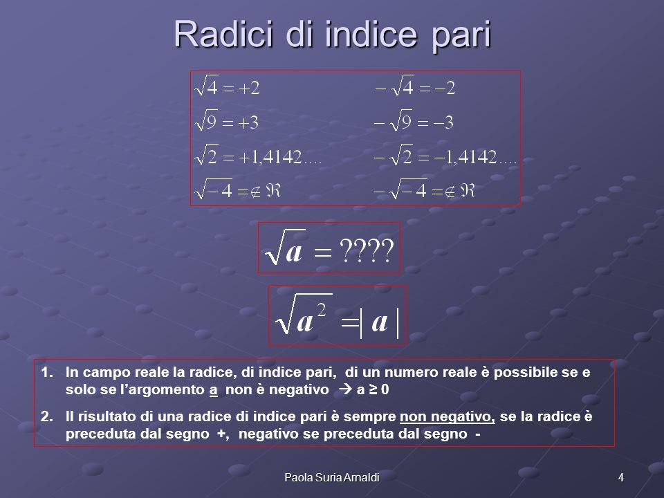 Radici di indice pari In campo reale la radice, di indice pari, di un numero reale è possibile se e solo se l'argomento a non è negativo  a ≥ 0.