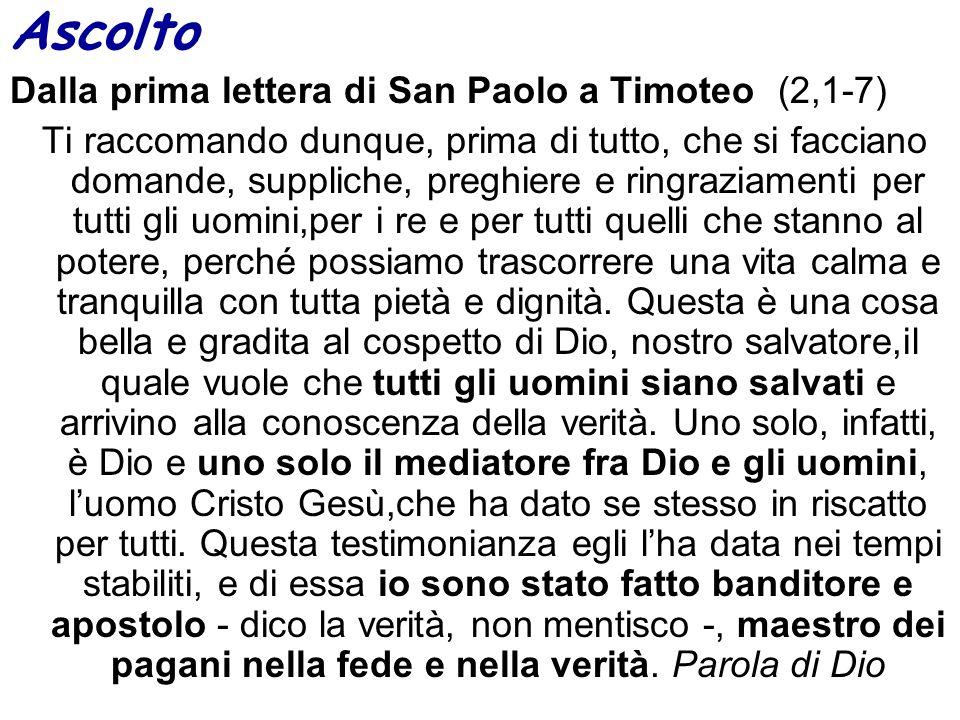 Ascolto Dalla prima lettera di San Paolo a Timoteo (2,1-7)