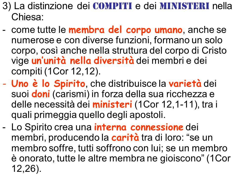 3) La distinzione dei compiti e dei ministeri nella Chiesa: