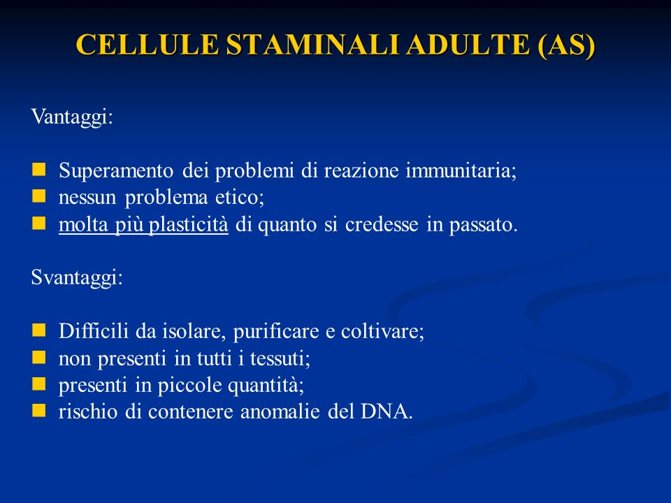 CELLULE STAMINALI ADULTE (AS)