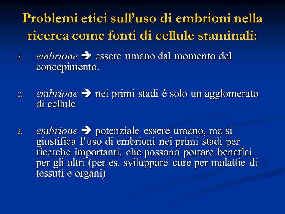Problemi etici sull'uso di embrioni nella ricerca come fonti di cellule staminali: